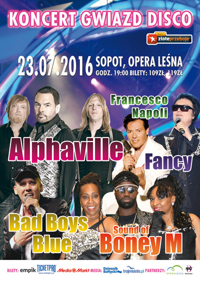 Koncert Gwiazd Disco - Sopot - Alphaville, Bad Boys Blue, Sound of Boney M, Fancy, Francesco Napoli